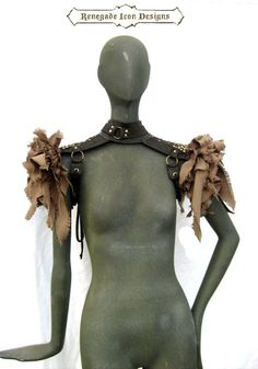 Epaulettes Leather distressed post apocalyptic by Renegadeicon