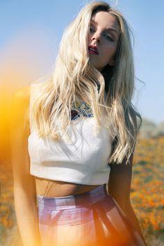 The New PEACE LOVE SHEA poppy fields gingham skirt blonde model flowers california SHEA MARIE dannijo jewelry carolina herrera