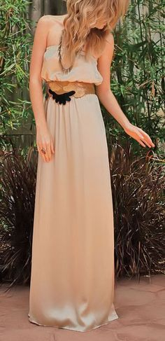 Cream Satin Maxi Dress <3 but hate the belt
