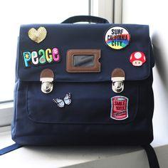 Custom patch work of navy school bag for kids TYPE C #01