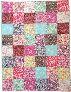 Patchwork Cot Quilt Top Kit Liberty Fabric by Alicecarolinesupply. Each block is 6 inches to start (5 1/2 finished block size). Perfect baby sized quilt.