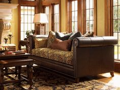 Another leather sofa with fabric cushion idea to spruce up our old leather couch.