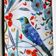 Bird Painting Bird Flowers Blue Bird Watercolor Bird Home Decor Bird Fine Art Bird Wall Art Original Watercolor Bird Botanical Contemporary
