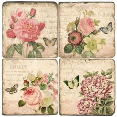 French Roses Marble Coasters from Studio Vertu