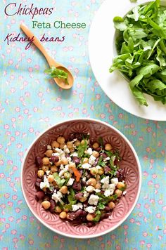 Chickpeas, Red Kidney beans & Feta Cheese Salad with lemon juice and ...