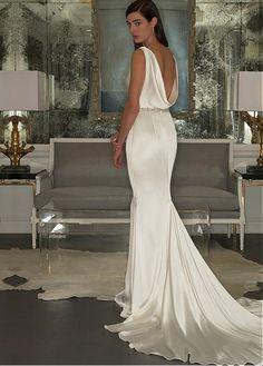 bd76182b48  110.40  Elegant Stretch Satin Cowl Neckline Sheath Wedding Dress with  Beadings   Rhinestones