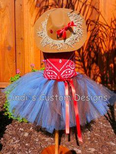 cowgirl tutu- denim blue & chocolate with red satin ribbon. red bandana shirt!