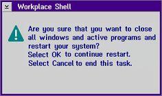 OS/2 Warp Restart Dialog, 1995