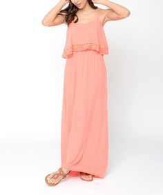 Look at this Caralase Coral Crochet-Trim Tiered Maxi Dress on #zulily today!
