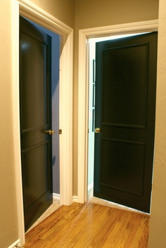 Beautiful BLACK INTERIOR DOORS With Trimmed Out Faux Panels. So Excited To Be Doing  This On