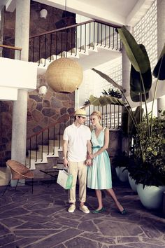 """The Stylish Holidaymakers,""""Feels, Looks & Sounds Like Miami"""" even though is was shot on location in Acapulco, by Pasquale Abbattista and styled by Kathrin Seidel featuring models Sophie Holmes & Lucien Thomkins for Elle Germany May """"Feels Like Miami"""" Mid Century House, Mid Century Style, Crazy Paving, Vintage Interiors, Modern Love, Deco Design, Googie, Mid Century Modern Design, Palm Springs"""