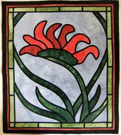 Kangaroo Paw - Deborah Wirsu - Stained glass appliqué