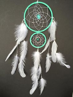 °DreamCatcher with Double Rings Light Green by ReinaDreamcatchers
