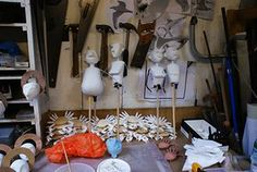 Little Angel: Puppets at an early stage of development in the workshop