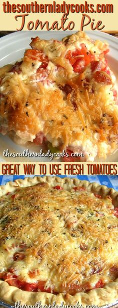 Tomato pie is one of our most popular recipes especially in summer when you can use up all those fresh tomatoes making this delicious pie.  Wonderful for any occasion and your family and friends will love this pie. #tomatoes #pie #summer #recipes #delicious #food #baking #cheese