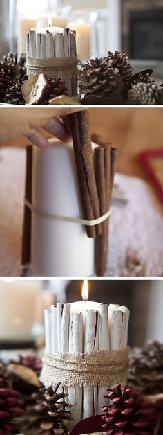Candle Wicks and Cinnamon Sticks | Click for 25 DIY White Christmas Decorations