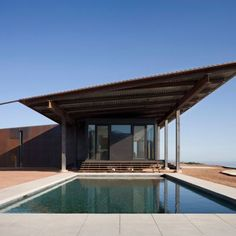 Montecito Residence: Location: Montecito, CA, USA Year of Construction: 2008  Architects: Olson Kundig Architects  Designed out of fire resistant materials, this home embraces it's raw materials and uses it to blend into the landscape.