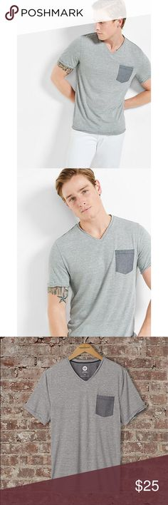 ✨Striped V-Neck Pocket Tee✨ Addictively comfortable fabric combines with a fresh striped design and contrasting chambray chest pocket to make one beast of a tee. This is casual style defined. Throw on some jeans or chinos and you're ready to rock.  V-neck Short sleeves Chambray chest pocket Straight hem Polyester/Rayon/Linen Machine wash Imported Express Shirts Tees - Short Sleeve