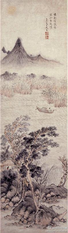"""明 赵左 《山水图》】轴,纸本设色,132×38cm。图下部绘临水土坡,林木掩映中隐现出草堂,屋中一士凭窗读书;中部湖水荡漾,芦苇丛中一人正持杆垂钓,扭头遥望远山的动作,表明其本意非在垂钓;上部山峰一座,画家在此处用工整的小楷书题写了两句诗:""""垂钓有深意,望山多远情 """",点明了主题"""