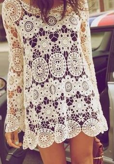 White Floral Hollow-out Long Sleeve Dacron Top