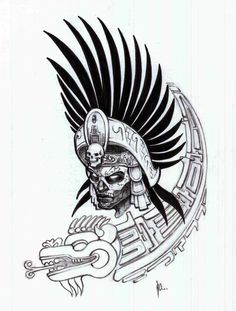 Aztec Warrior Tattoo Stencil | Tattooshunt.com