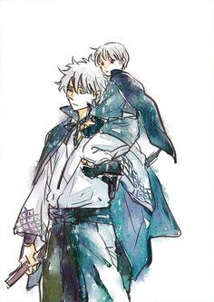 Gintoki x Little Shouyo Anime One, Anime Guys, Manga Art, Manga Anime, Gintama Wallpaper, Animated Cartoons, Poses, Awesome Anime, Art Drawings