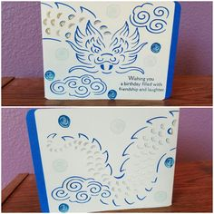This Birthday card was made with paper and stamp from general craft stores.  I used Stampin Up stamp set Swirly Bird.  The cutout was made with my Cricut Explore Air.  For ink I used Stampin Up Night Of Navy, Pacific Point and Soft Sky.