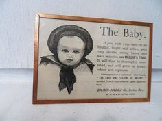 1889 MELLIN'S FOOD Infant Food Advertisement Feeding Advertising Picture Framed Antique 1800s. $15.57, via Etsy.