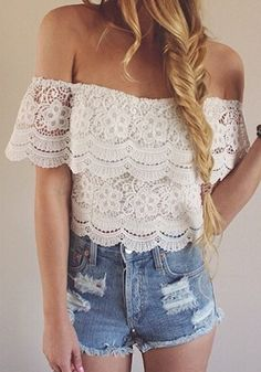 cute lace top + jean shorts