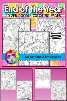 10 zentangle, coloring pages to celebrate the end of the year! Mindful, zen, coloring sheets for all ages. All 10 pages are hand drawn by Ms Artastic. These coloring sheets are very detailed and are a great way to keep your students busy during the End of the Year cool down!