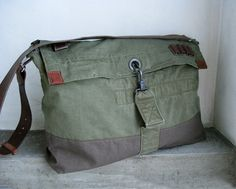 Cross Body Bag Army Green Shoulder Bag Upcycled by avivaschwarz