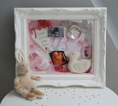 Baby Ornate White Frame... I want something this like this for Emily's Shadow Box.