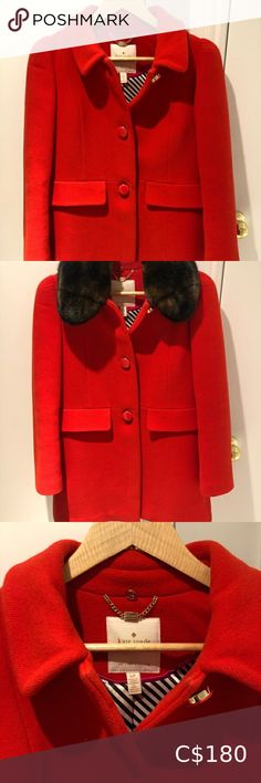 "Kate Spade Coat w/ detachable faux fur collar Cute red coat with detachable faux fur collar. Babydoll fit! Two pockets and beautiful buttons. Worn less than a handful of times. In excellent condition. Size small. Length 32"" kate spade Jackets & Coats Faux Fur Collar, Fur Collars, Wool Car Coat, Barbour Women, Boucle Coat, Kate Spade, Down Coat, Tweed Jacket, Hooded Jacket"
