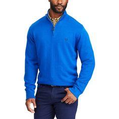 Men's Chaps Classic-Fit Cool Max Stretch Quarter-Zip Sweater, Size: Medium, Blue