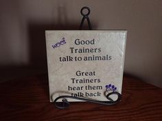 Gifts for Dog Trainers, Animal Trainer Tile Plaque Sign, Good Trainers Talk to Animals, Best Dog Trainer Ever, Heart Paw Prints Talking Back, Jesus On The Cross, Dog Signs, Window Stickers, Dog Training, Trainers, Place Card Holders, Dogs, Tile