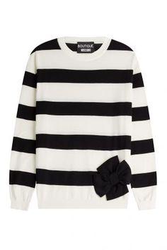 Boutique Moschino Boutique Moschino Gestreifter Pullover aus Wolle und Kaschmir mit Schleife – Gestreift