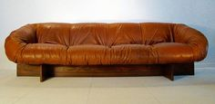"""Fine and Rare Percival Lafer Sofa in Leather, Fibreglass and Rosewood """"Brazil"""" 7"""
