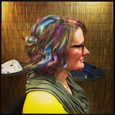 Finished product!    Aveda, Pure Pigment, Rainbow hair, Highlights, Violet, Blue, Yellow