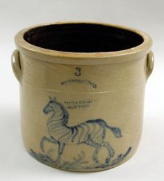 Three-gallon crock by W. A. MacQuoid & Co., Pottery, New York City, decorated with a zebra, c. 1870