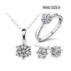 Cubic Zircon Statement Necklace & Earrings & Rings