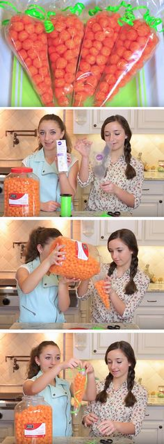 Cheese Puff 'Carrots' | Click Pic for 17 DIY Easter Gift Ideas for Friends | Easy Spring Treats for Kids to Make