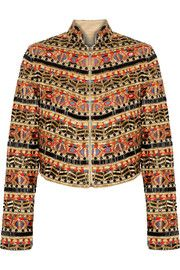 Mikayla embellished embroidered cotton jacket