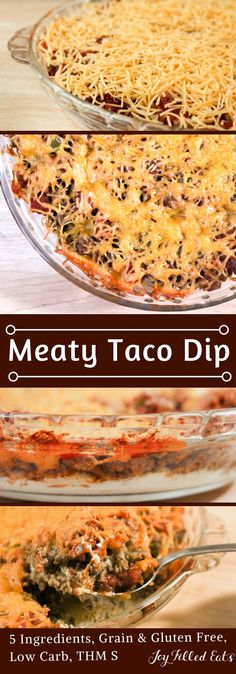 My Meaty Taco Dip is perfect for a party or hearty enough for the main course. It is Low Carb, Grain Gluten Free, THM S, and has only 5 Ingredients. Side Dish Recipes, Mexican Food Recipes, Low Carb Recipes, Cooking Recipes, Cooking Courses, Healthy Recipes, Mexican Dishes, Diabetic Recipes, Healthy Meals