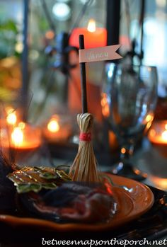 Broomstick Place Cards for Halloween Table Setting