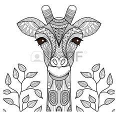 Cabeza de jirafa Zentangle de la p gina para colorear dise o de la camiseta y as sucesivamente  Foto de archivo