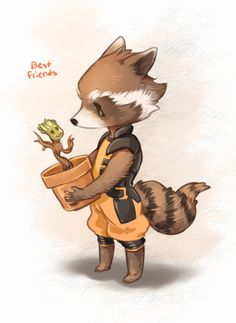 'I Am Cute' Get it like I am Groot! My favorites in GotG is totally Rocket and Groot. And Baby Groot too. Ms Marvel, Marvel Dc Comics, Captain Marvel, The Avengers, Avengers Fan Art, Marvel Fan Art, Rocket Raccoon, Raccoon Art, Wonder Woman Comics