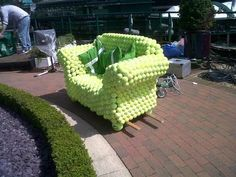 A rather strange and fantastic sofa on the Broadcast Centre roof made from recycled tennis balls.