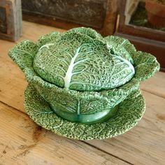Vintage Majolica Cabbage Leaf Serving Bowl by CountryAnthropology