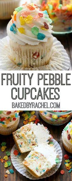 Fruity Pebble funfetti cupcakes with vanilla buttercream frosting recipe from @bakedbyrachel