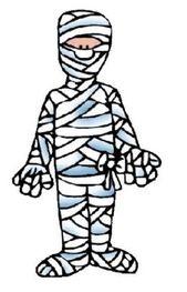 La momia ¿Qué necesito? Un rollo de papel por niño  ¿Cómo se hace? Haces dos equipos, deben quedar números nones para que a un peque le toque envolver y al otro ser envuelto.  Se ubican dos zonas: una de salida, en donde se envuelve al peque, y otra de llegada.  ¿Cómo se juega? Un peque envuelve a otro, en cada equipo, el peque envuelto sale brincando a la línea de llegada.